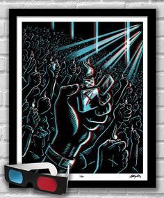 ENCORE - Lighters Raised 3D Concert Illustration Poster Art Signed limited edition, hand-titled and numbered (1 of 50) Red/blue 3D glasses included  Archival Giclee print on medium weight Epson Ultra Premium Matte paper. 16x20 Poster Print - standard size for easy framing, no mat required.  Original 3D illustration presented in eye-popping 3D with included red/blue glasses. Bring your own soundtrack!  With your new glasses, you can also view the entire Concerto Collection and more i...