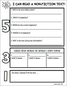 Non-Fiction Text Response Graphic Organizer.  5-3-1.  Can be used with any informational text and hits second grade common core reading standard RI.2.1.