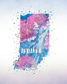 "State Art - ""Indiana State Flower (Peony)"" wall art by Inner Circle available at Great BIG Canvas. Outline Art, Tattoo Outline, State Tattoos, Money Tattoo, Indiana State, Big Canvas, Canvas Prints, Tile Art, Pin Collection"