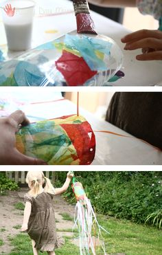 Windsock craft from plastic bottle Summer Preschool Activities, Preschool Arts And Crafts, Activities For Boys, Creative Arts And Crafts, Toddler Preschool, Creative Kids, Toddler Crafts, Craft Activities, Activity Ideas