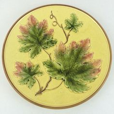 Vintage German Majolica Maple Leaves Platter Zell 11 inch Fall Golden Green Red | eBay