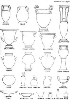 Athenian Vase shapes from History of Art www.edu Helpful handout or slide whe… Athenian Vase shapes from History of Art www.edu Helpful handout or slide when beginning pottery vessels unit Greek History, Ancient History, Art History, Tattoo Avant Bras, Greece Art, Ancient Greek Art, Greek Pottery, 6th Grade Art, Art Worksheets