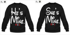 FREE SHIPPING for US Disney He's Mine She's Mine Couples Long Sleeve T-Shirts on Etsy, $43.00 CAD