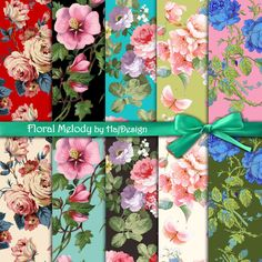 FLORAL MELODY - Digital Collage Sheet - Digital Papers - Decoupage Paper - Scrapbook - Floral - Printable - Flowers - Scrapbooking