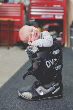 Amie Pendle Photography_0116 Newborn lifestyle, motorcycle boot portraits motocross, dirt bike, baby boy. garage,