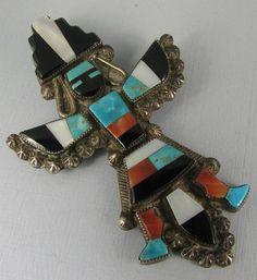 Vntg Zuni Mosaic Inlay Knifewing Pin