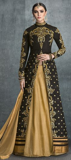 712645: Beige and Brown,Black and Grey color family stitched Long Lehenga Choli .