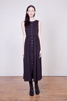 90s Black Cotton Empire Waist Button Down Maxi Dress