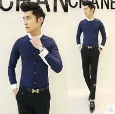 Find More Casual Shirts Information about 2015 Hot Sale Runway Style Fashion Men Unique Contrast Shirts Slim Fit Free Shipping C02,High Quality Casual Shirts from HOTI STYLE on Aliexpress.com