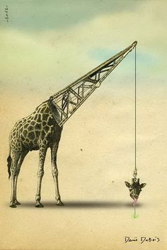 Mechanical | Creative separation of servant and served parts. This image makes me wonder about the efficiency of separating served and servant spaces. Would a giraffe be better designed if its input (mouth) was closer to its processing systems? (obviously the neck serves a purpose, but let's just say...)