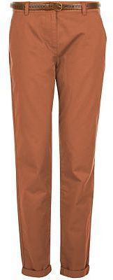 Womens dark tan tan belted chinos from New Look - £17.99 at ClothingByColour.com