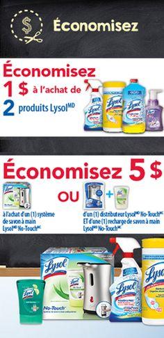 Coupons Lysol pour la maison. http://rienquedugratuit.ca/coupons/coupons-lysol-pour-la-maison/