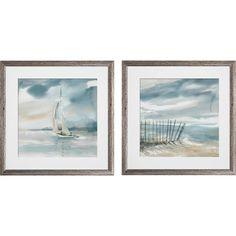 Three Posts 'Subtle Mist' 2 Piece Framed Print Set Format: B Bathroom Artwork, Bathroom Wall Decor, Pool Bathroom, Bath Decor, Bathroom Ideas, Coastal Farmhouse, Farmhouse Decor, Coastal Pictures, Coastal Bathrooms