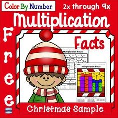 Color By Number Multiplication Facts Christmas Edition: Free Math Resources, Math Activities, Classroom Resources, Holiday Activities, Multiplication Facts, Math Facts, Christmas Color By Number, 3rd Grade Classroom, Color By Numbers