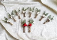 SET OF 10 Winter wedding rustic wedding cypress bulap white frozen and red fruits BOUTONNIERES Groom and groomsmen, Wedding Flowers custom - pinned by pin4etsy.com