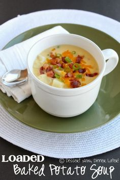 Loaded Baked Potato Soup - Creamy soup with chunks of potatoes, bits of bacon & melted cheese!  So comforting & delicious! | DessertNowDinnerLater.com #soup #potato