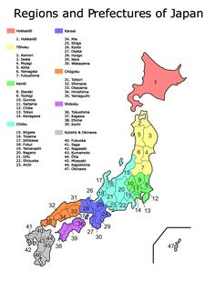 Map of Japan regions and prefectures <3