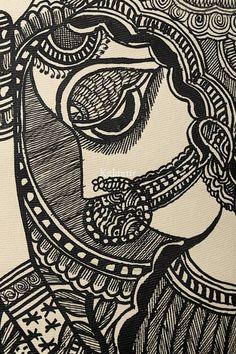Portrait of a Village Women in Madhubani Painting Madhubani Paintings Peacock, Madhubani Art, Art Village, Indian Village, Ink Painting, Woman Painting, Indian Women Painting, Indian Folk Art, Embroidery Works