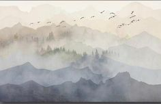 Watercolor Mountains with Trees Forest Nursery Wallpaper Flying Birds Abstrat Mountains Babys Room or Nursery Wall Painting Wall Murals Watercolor Trees, Watercolor Background, Watercolor Landscape, Abstract Watercolor, Watercolor Illustration, Watercolor Paintings, Simple Watercolor, Tattoo Watercolor, Watercolor Animals