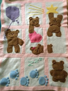 Bears on my blanket – girl. Baby Afghan Patterns, Baby Afghan Crochet, Crochet Quilt, Manta Crochet, Baby Afghans, Crochet Bear, Crochet Blanket Patterns, Crochet For Kids, Crochet Granny