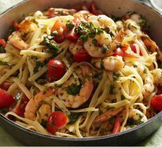 A quick pasta dish that pairs prawns with zesty lime and chill. Cooked Prawn Recipes, Easy Prawn Recipes, Linguine Recipes, Healthy Pasta Recipes, Veggie Recipes, Seafood Recipes, Vegetarian Recipes, Cooking Recipes, Savoury Recipes
