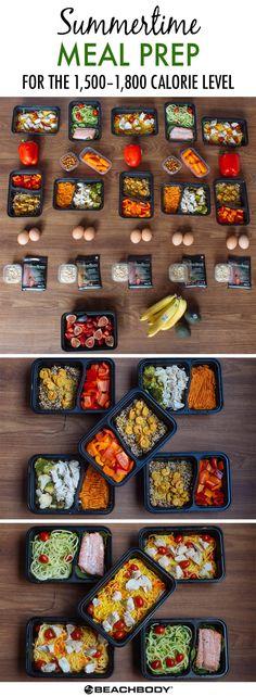 Summertime Meal Prep for the 1,500–1,800 Calorie Level #summermeals #summerrecipes #mealprep #healthymeals #healthyeating #mealplans #mealplanning #mealplan