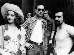 Jodie Foster, Robert DeNiro and Martin Scorsese during the filming of Taxi Driver