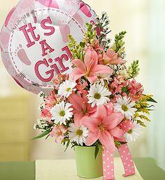 Little Princess Bouquet™- snapdragons, lilies, alstroemeria, daisy poms, monte casino, solidago and variegated pittosporum $39.99- $54.99 #itsagirl #newbaby #baby #babygirl