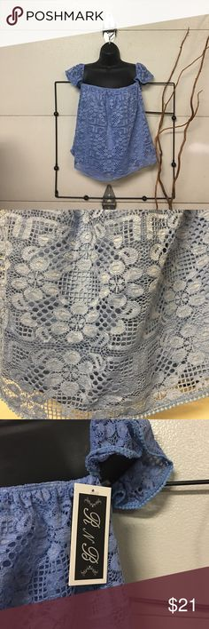 R & B blue lace peasant blouse Rich and Beautiful like you blue lace off the shoulder peasant blouse Tops Tank Tops