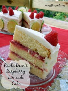 Raspberry Limeade Cake - Super delicious limeade flavored cake, with a raspberry filling and cream cheese frosting. One of the yummiest cakes ever!
