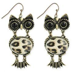 Leopard Print Owl Earrings - $6.75