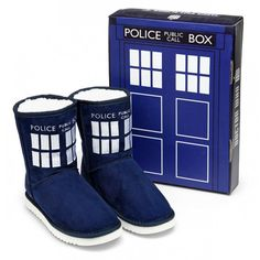 Ever dream about walking on clouds? Well, when the weather gets cold or you just want to wear something super cozy on your feet, there is no better option than these TARDIS Boot Slippers! These are made with TARDIS blue faux-suede exterior with a white fuzzy lining and embroidered details. Comes in an awesome TARDIS inspired box that's great for storing these lovely boot slippers or any other Doctor Who treasures