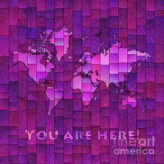 World Map Glasa Square with 'You Are Here' In Purple by elevencorners. World map art wall print decor. #elevencorners #mapglasa