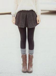 Winter Outfit skirt pulli leggins