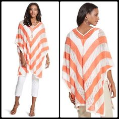 "NWT Striped coral & white poncho Open sides. Length:26""-29"".  dxthtwqa Chico's Tops"