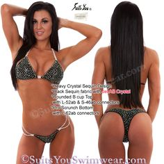 The Ultimate Competition Bikini, Heavy Crystal Sequin Design with swarovski crystal outline.