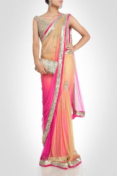Buy hot pink and peach net designer partywear saree, ceremonial and party, net, designer partywear saree, order indian ethnic wear collections from india. Bollywood Saree, Bollywood Fashion, Bollywood Wedding, Desi Wedding, Indian Bollywood, Wedding Stuff, Wedding Ideas, Indian Attire, Indian Ethnic Wear
