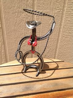 Bikini clad roping cowgirl art, horseshoe sculpture, hand crafted cowgirl /  cowboy rustic art, unique western gift , metal steel iron art