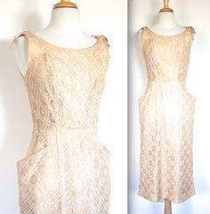 Vintage 1950s Dress // 50s Nude Crochet Bombshell Wiggle Cocktail Party Dress // Summer Wedding // DIVINE