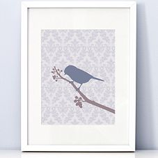 Salt & Paper - printable stationery & art - Bird on damask background, 8x10 print