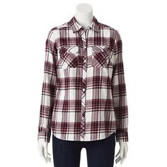 Love flannel!! Croft & Barrow® Plaid Flannel Shirt - Women's