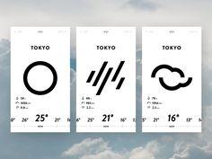 Weather App UI designed by TATSUYA Sawanobori. Connect with them on Dribbble; App Ui Design, Web Design, Module Design, Ui Design Mobile, Line Design, Flat Design, Graphic Design, Gui Interface, User Interface Design