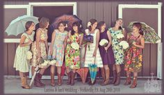 "I absolutely love this bridesmaid party.  What spunk! Cowgirl boots for everyone, tea dresses and parasols.  It provides a great reminder that not everything has to ""match"" for it to look put together."
