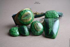 Купить Гранено-папоротниковый комплект. Зеленый - тёмно-зелёный, папоротник, зеленый кулон, кулон с папоротником