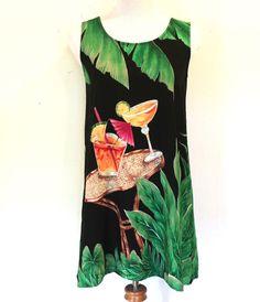 Women's Size S Tori Richard Tiki Mai Tai Daquiri Sleeveless Aloha Hawaiian Dress #ToriRichard #Hawaiian #Casual