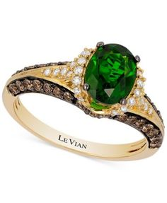 Le Vian Chocolatier® Chrome Diopside (1-1/10 ct. t.w.) and Diamond (2/3 ct. t.w.) Ring in 14k Gold