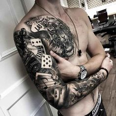 gambler tattoo sleeve and chest piece tiger