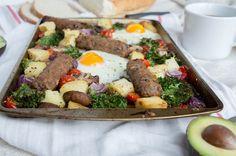 Sausage, Egg & Veg BrunchTray Bake - Kay's Kitchen Baked Eggs, Baked Potato, Cherry Tomatoes, Tray Bakes, Kale, Sausage, Stuffed Mushrooms, Brunch, Potatoes