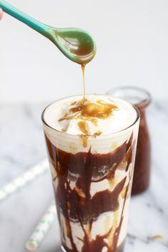 Butterscotch Milkshakes with Chocolate Peanut Butter Hot Fudge | halfbakedharvest.com
