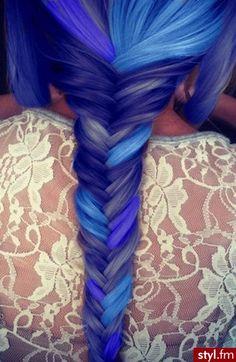 Fryzury Kolorowe włosy: Fryzury Długie Na co dzień Proste Warkocze Kolorowe - KatarzynaKa - 2561352